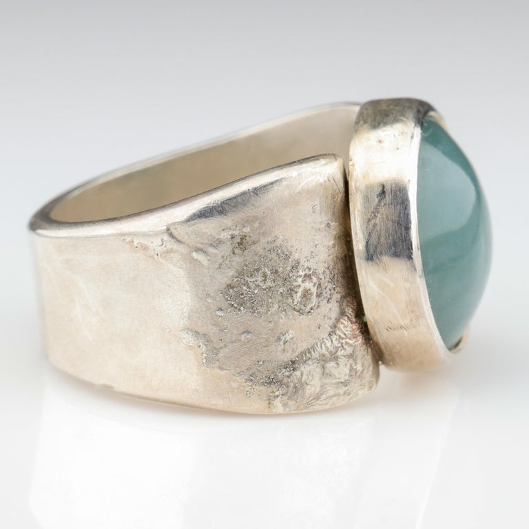 Blue Jade Ring in Silver Certified Natural and Untreated For Sale 3