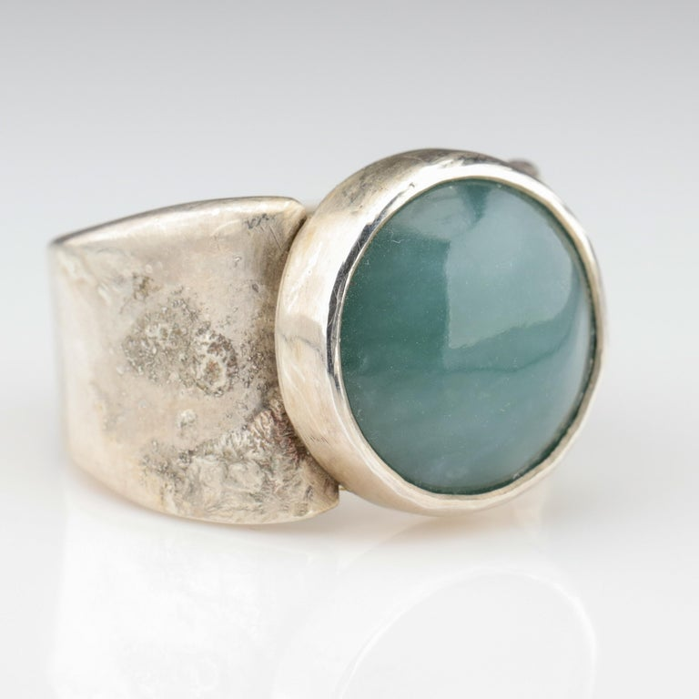 Blue Jade Ring in Silver Certified Natural and Untreated For Sale 4
