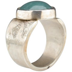 Blue Jade Ring in Silver Certified Natural and Untreated