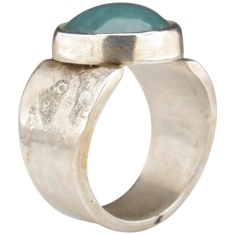 Blue Jade Ring in Silver Certified Natural and Untreated For Sale