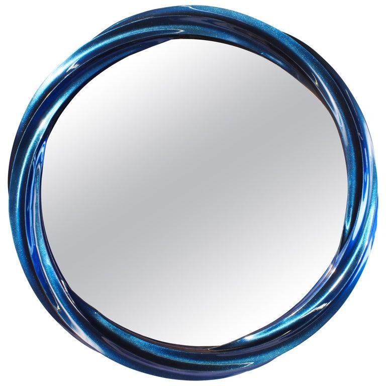 Blue Jade Wave II series Mirror Floor Sample For Sale