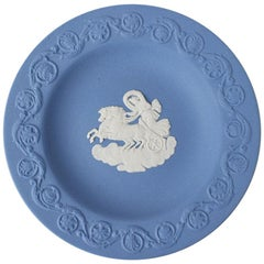 Blue Jasperware Collectible Catchall with Greek Chariot Motif by Wedgwood