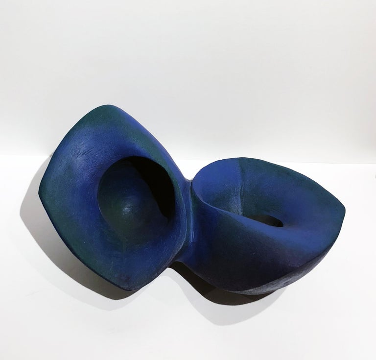 Modern Blue Join, Hand Built Ceramic Double Bowl Vessel Organic Sculptural Art Object For Sale