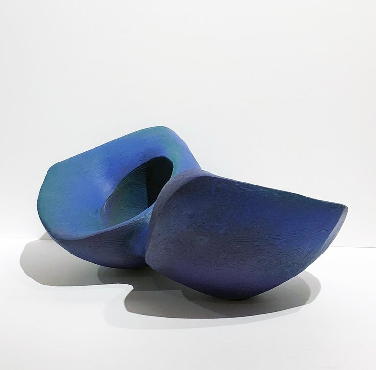 American Blue Join, Hand Built Ceramic Double Bowl Vessel Organic Sculptural Art Object For Sale