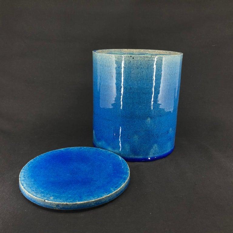Modernist Blue Kähler Vase by Allan Schmidt from the 1970s For Sale