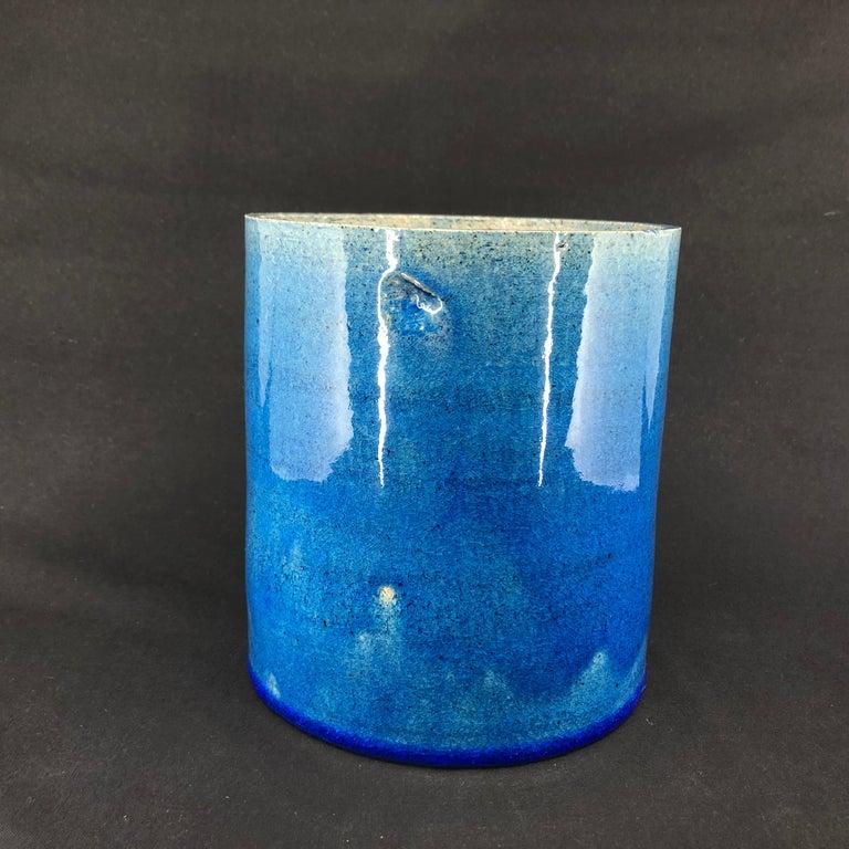 Women's or Men's Blue Kähler Vase by Allan Schmidt from the 1970s For Sale
