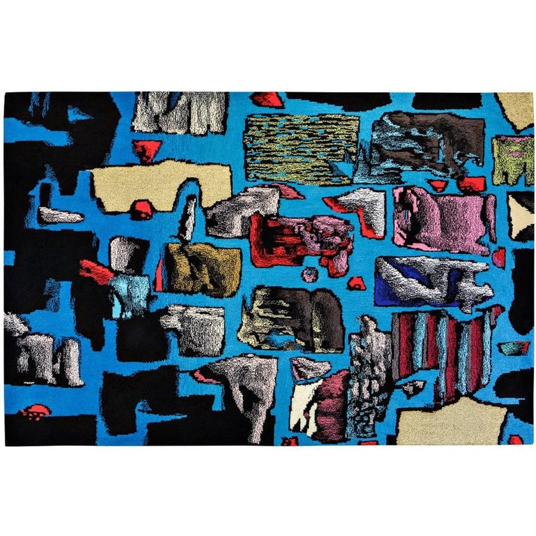 'Blue Kit' Hand-Tufted Area Rug by Julien Colombier For Sale