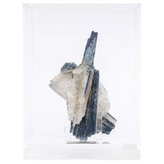 Blue Kyanite and Quartz Specimen on Acrylic Box, Natural Crystal Sculpture