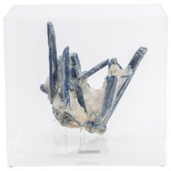 Blue Kyanite and Quartz Specimen on Acrylic Box, Natural Crystal Sculpture