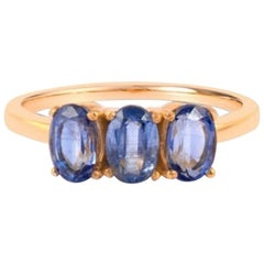 Blue Kyanite Ring in Gold, Engagement Ring, Solid Gold Ring, 18K Rose Gold Ring