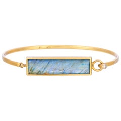 Blue Labradorite Emerald Cut Stone with Hinge Bangle in 18k Yellow Gold