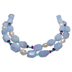 Blue Lace Agate Necklace with Chrysoprase and Amethyst