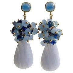 Blue Lace Agate Tanzanite Topaz Kyanite Earrings, Ophelia Cluster Earrings