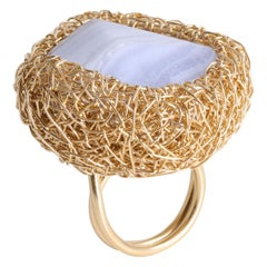 Blue Lace Chalcedony in 14 Karat Gold Woven Cocktail Ring by Sheila Westera