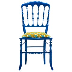 Blue Lacquered Chiavari Side Chair with Peacock Feathers in Cut Velvet
