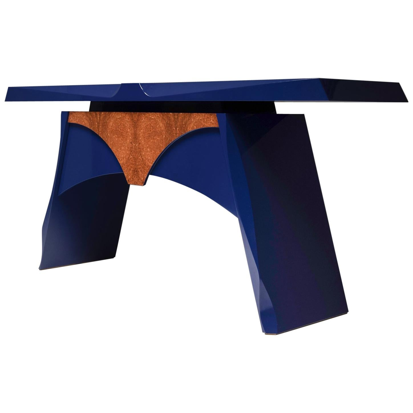 Blue Lacquered Console Table, 1980s