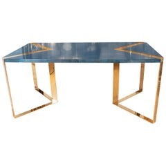 Blue Lacquered Goatskin Desk