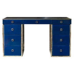 Blue Lacquered Guy Lefevre Desk with Bamboo Motifs Legs and Leather Top
