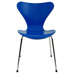 Blue Lacquered Series 7 Butterfly Chair by Arne Jacobsen for Fritz Hansen