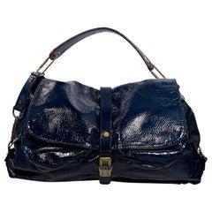 Blue Lanvin Patent Leather Hobo Bag