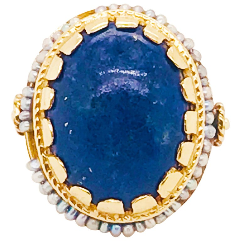 Blue Lapis and Seed Pearl Halo Estate Ring 14 Karat Yellow Gold, circa 1960 For Sale