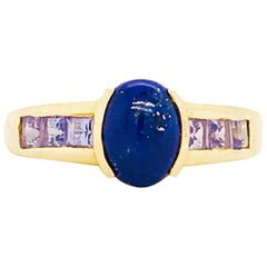 Blue Lapis and Tanzanite Gemstone Ring 14 Karat Gold Custom Design Fashion Ring