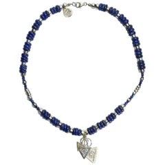 Blue Lapis Gold Silver Azrak Necklace