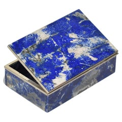 Blue Lapis Jewelry Box with Sterling Silver Details