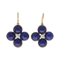 Blue Lapis Lazuli and Diamond Clover Dangle Drop Earrings Set in 18k Yellow Gold