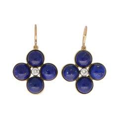 Blue Lapis Lazuli and Diamond Clover Dangle Drop Earrings Set in 18k Yellow Gold
