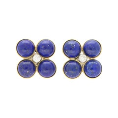 Blue Lapis Lazuli and Diamond Clover Stud Earrings Set in 18k Yellow Gold