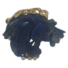 Original Lapis Lazuli and Diamond Estate Horse Pin, Custom Made Blue Lapis Horse