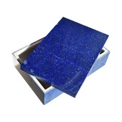 Blue Lapis Lazuli and Marble Stone Rectangular Jewelry or Trinket Box