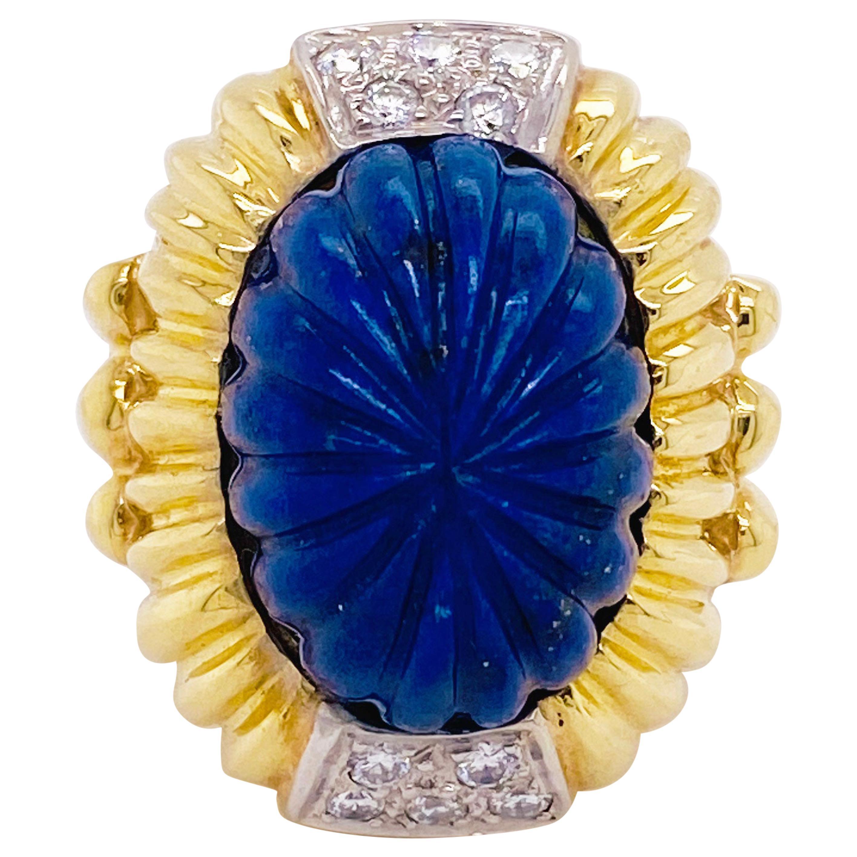 Blue Lapis Bombe Ring circa 1970, Bombe, Vintage R. Stone Designer un 18k yellow