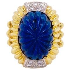 Blue Lapis Ring, 18 Karat Gold, circa 1970, Bombe, Vintage R. Stone Designer