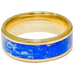 Blue Lapis Ring in 14 Karat Yellow Gold Men's Band Inlay