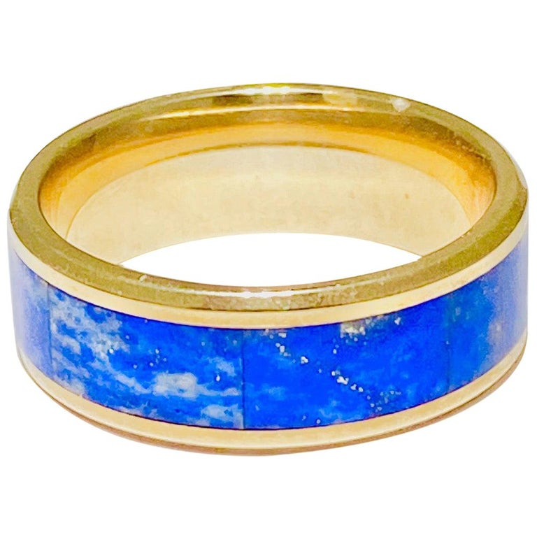 Blue Lapis Ring in 14 Karat Yellow Gold Men's Band Inlay For Sale