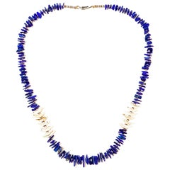 Blue Lapis & Shell Organic Bird Necklace Natural Lapis Beads & Hand Carved Shell