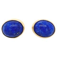 Blue Lapis Stud Earrings