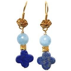 Blue Lapiz Aquamarine Gold Drop Earrings