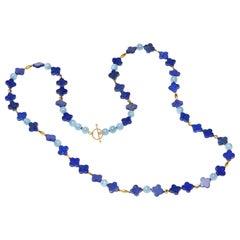 Blue Lapiz Aquamarine Gold Necklace