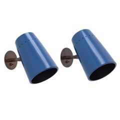 Blue Large Lightolier Directional Sconces