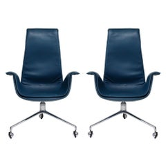 Blue Leather Bird Chairs by Fabricius & Kastholm for Alfred Kill, Signed 1960s