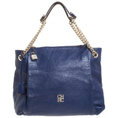 Blue Leather Crystal Embellished Lock and Logo Chain Bag
