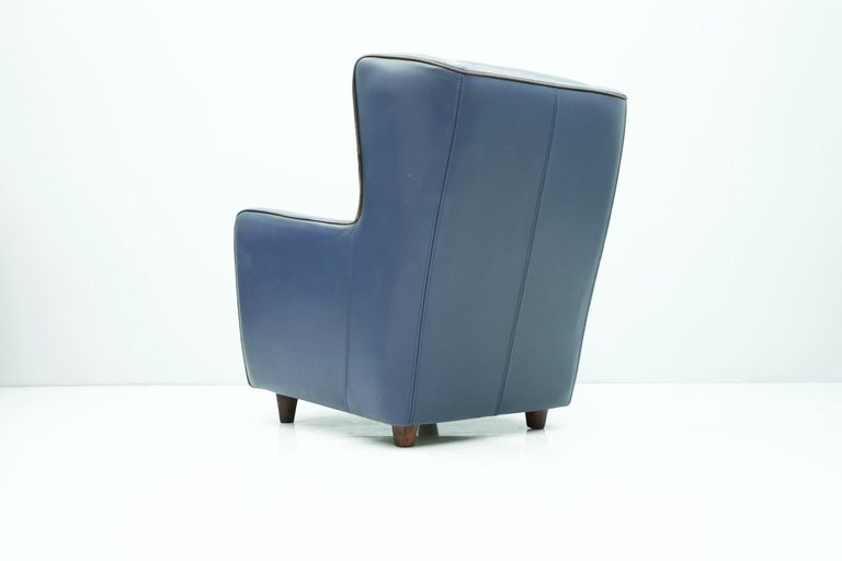 Italian Blue Leather Lounge Chair Bergère by Baxter, Italy For Sale