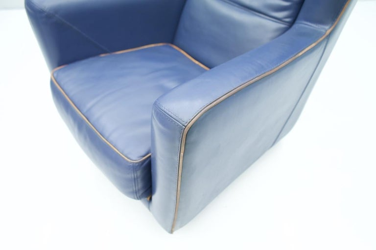 Blue Leather Lounge Chair Bergère by Baxter, Italy For Sale 1