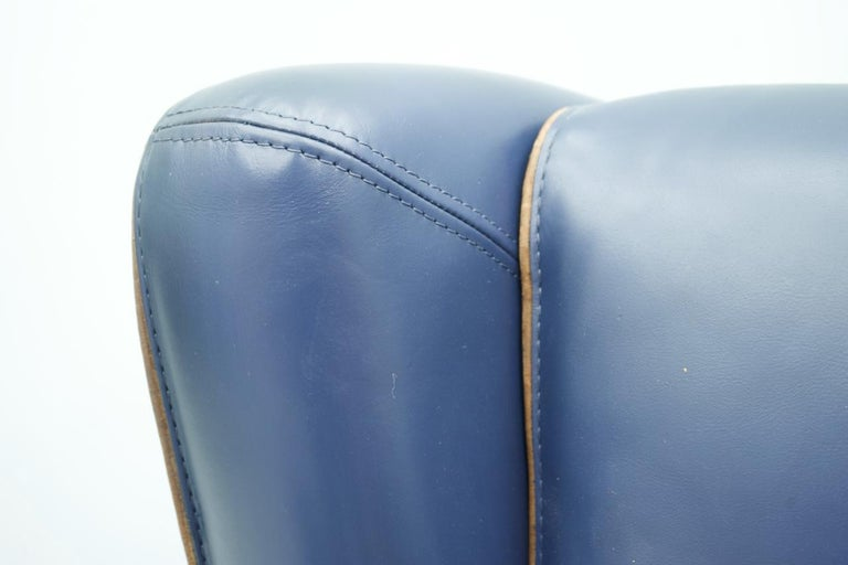Blue Leather Lounge Chair Bergère by Baxter, Italy For Sale 2