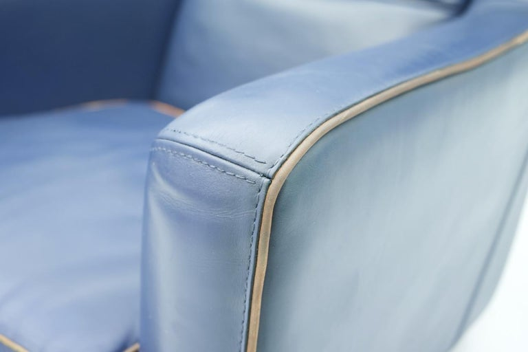 Blue Leather Lounge Chair Bergère by Baxter, Italy For Sale 3