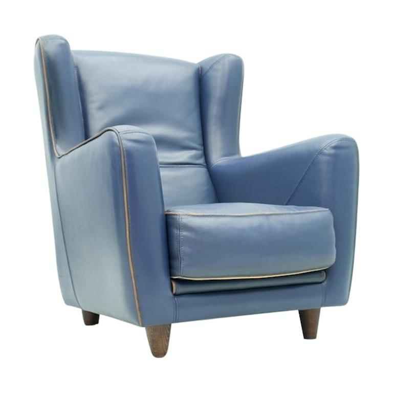 Blue Leather Lounge Chair Bergère by Baxter, Italy For Sale