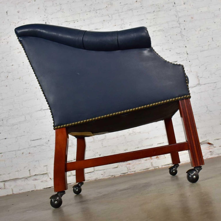 Blue Leather Rolling Captain's Chair Campaign Chippendale Style For Sale 5